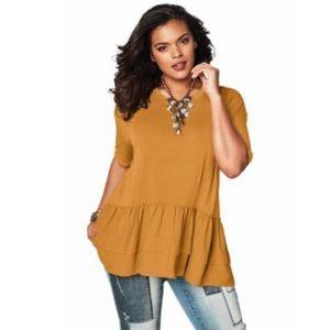 Gold Dressy T-shirt blouse peplum ruffle 4x 34/36